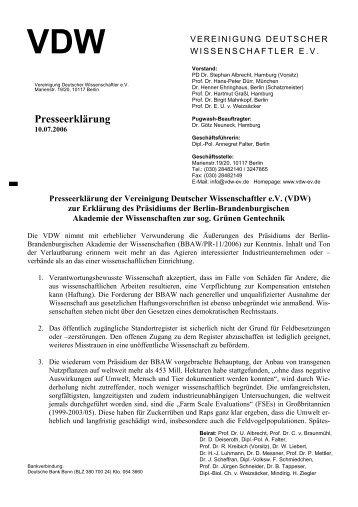 PM Vereinigung Deutscher Wissenschaftler e.V.
