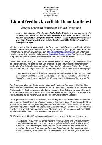 LiquidFeedback verfehlt Demokratietest - Stephan Eisel