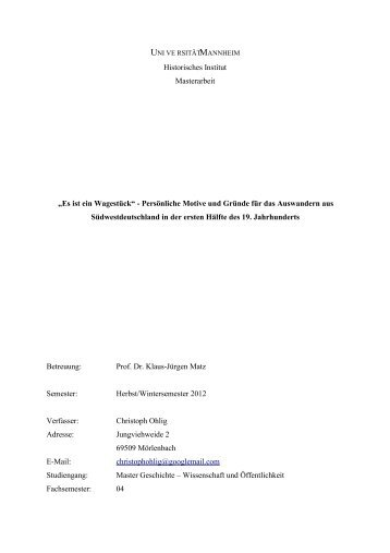 Historisches Institut Masterarbeit - WordPress – www.wordpress.com