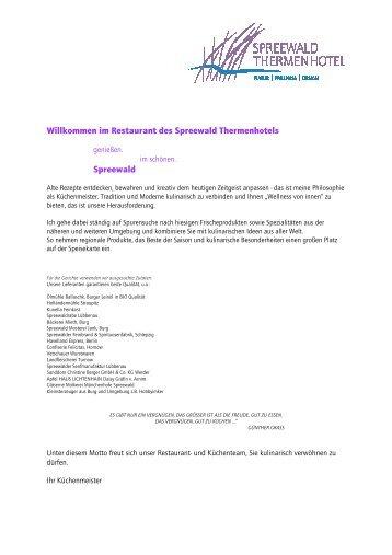 Unsere Speisekarte - Spreewald Thermenhotel