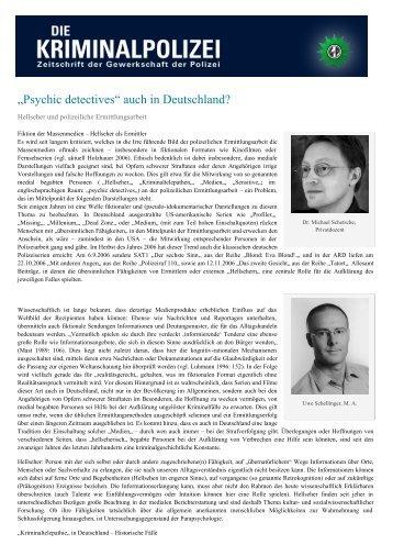 """""""Psychic detectives"""" auch in Deutschland? - Die Kriminalpolizei"""