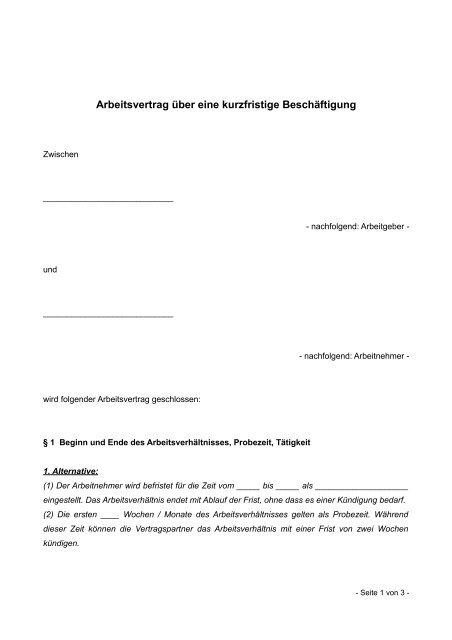 Arbeitsvertrag über Eine Kurzfristige Beschäftigung Arbeitsrecht
