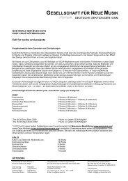 Ausschreibung 2009 - Gesellschaft für Neue Musik