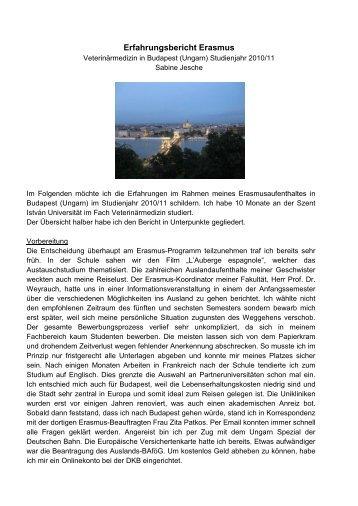 Erasmus-Bericht aus Budapest, 2011 - Fachbereich ...