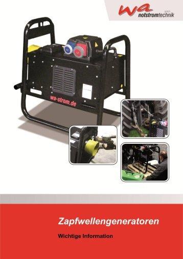 Informationen für Zapfwellengeneratoren