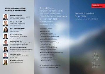 Infoblatt zum Arbeitsübereinkommen - Tiroler Volkspartei