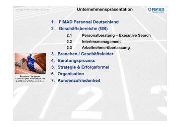Unternehmenspräsentation 1. FIMAD Personal Deutschland 2 ...