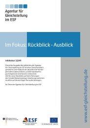 Im Fokus: Rückblick - Ausblick - Agentur für Gleichstellung im ESF