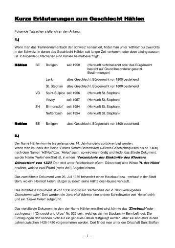 Kurze Geschichte zum Geschlecht Hählen - Informationen zum ...