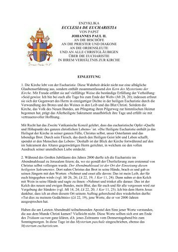 Enzyklika De Eucharistia - T-Online