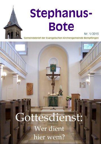 Stephanus-Bote 1/2013 - Evang. Kirchenbezirk Bad Urach