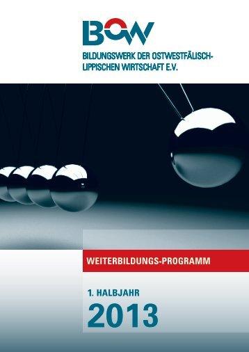 BOW-Weiterbildungs-Programm 1. Halbjahr 2013 - Arbeitskreis ...