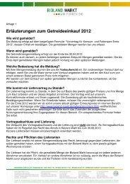 Erläuterungen zum Getreideeinkauf 2012 - Bioland Markt Gmbh