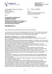 1. Rundbrief vom Juli 2008 - Mission 21