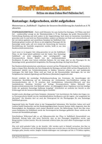Rastanlage: Aufgeschoben, nicht aufgehoben - Staffelbach.Net