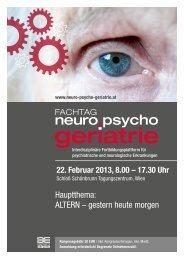 Vorprogramm Fachtag neuro psycho geriatrie 2013 - Aktivvernetzt