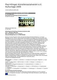 weiterlesen - Paul-Klinger-Künstlersozialwerk eV