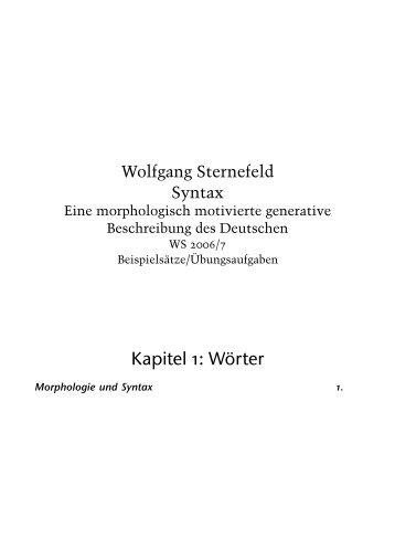 Handout-Morphologie (pdf) - Wolfgang Sternefeld