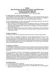 Gesetz über die Kosten des Deutschen Patent- und Markenamts ...