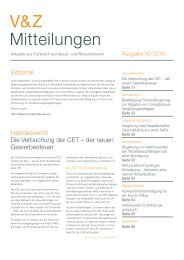 V&Z Mitteilungen Ausgabe 10/2010 - V&Z Audit et Conseil