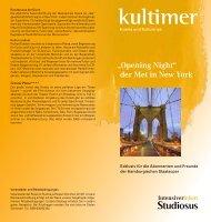 """""""Opening Night"""" der Met in New York - Hamburgische Staatsoper"""