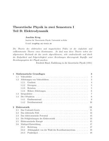 Theoretische Physik in zwei Semestern I Teil B: Elektrodynamik