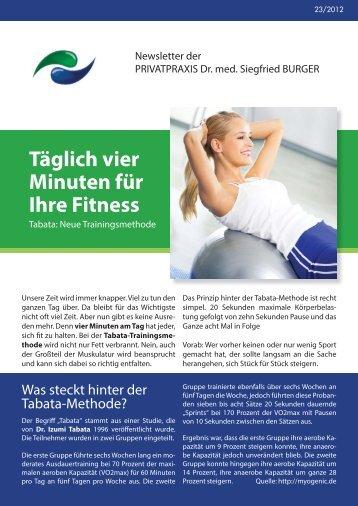 Täglich vier Minuten für Ihre Fitness - Privatpraxis Dr. Siegfried Burger