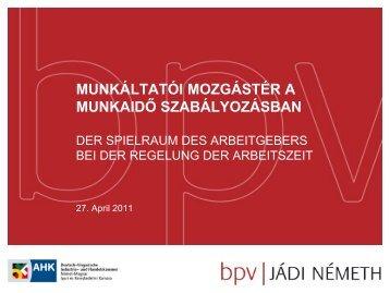Arbeitszeit - BPV | Jádi Németh
