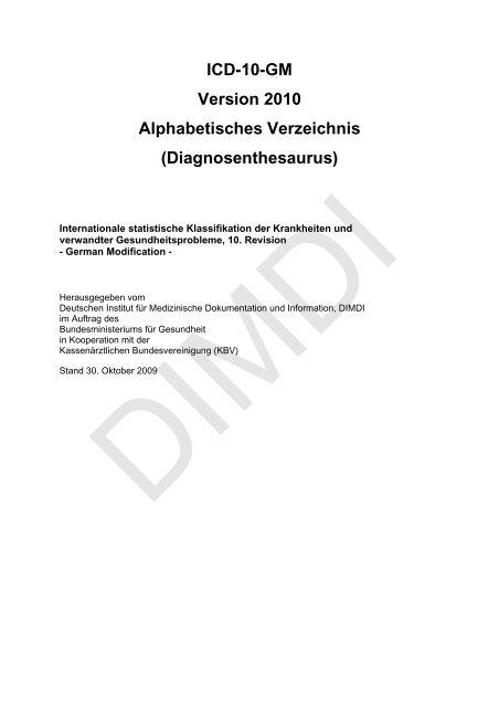 ICD-10-GM Version 2010 Alphabetisches Verzeichnis ...