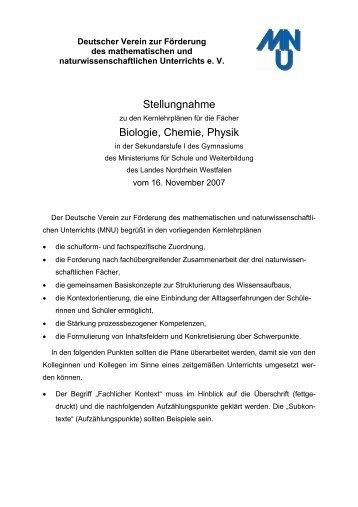 Stellungnahme Biologie, Chemie, Physik - MNU Landesverband ...