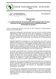 RESOLUTION sur Gouvernance - Union Parlementaire Africaine