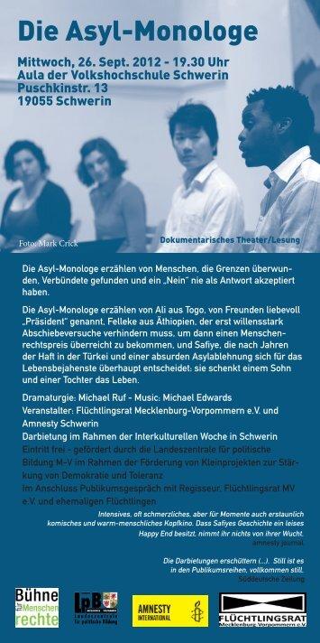 Die Asyl-Monologe - Flüchtlingsrat Mecklenburg-Vorpommern eV