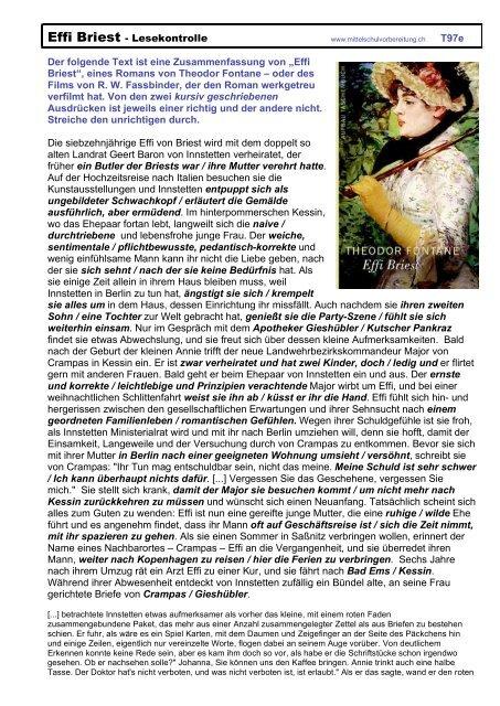 Effi Briest - Lesekontrolle T97e Der folgende Text ist eine ...