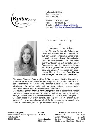 Marcus Tanneberger & Tatiana Chernichka - Kulturkreis Gilching