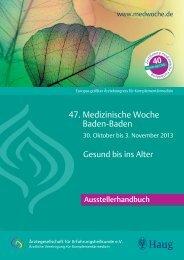 Ausstellerhandbuch - Medizinische Woche Baden Baden