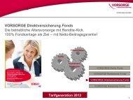VORSORGE Direktversicherung Fonds Die betriebliche ... - Anbieter