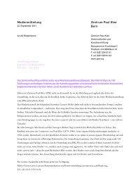Medienmitteilung Eiapopeia. Das Kind im Klee - Zentrum Paul Klee