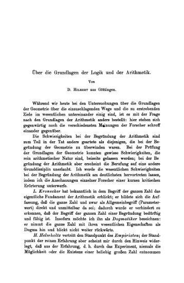 Über die Grundlagen der Logik und der Arithmetik. - International ...