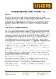 Jahresbericht 2012 - USSERI Entwicklungsförderung in Afrika