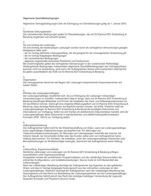 Allgemeine Geschäftsbedingungen Allgemeine ... - Dr.Ramme EDV