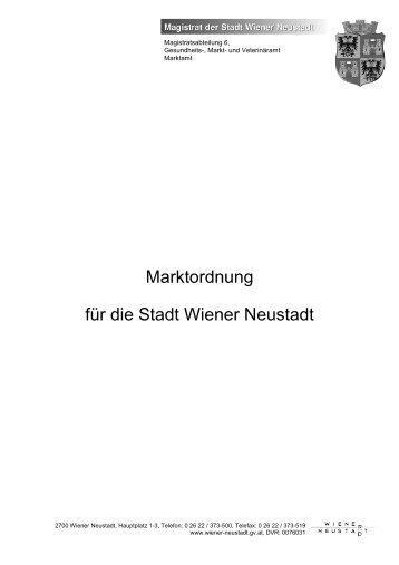 Marktordnung für die Stadt Wiener Neustadt