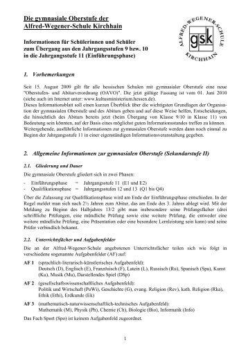 Die gymnasiale Oberstufe - Alfred-Wegener-Schule