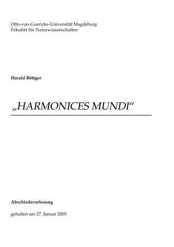 """HARMONICES MUNDI"""" - Otto-von-Guericke-Universität Magdeburg"""
