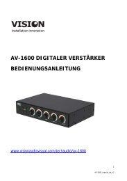 BEDIENUNGSANLEITUNG AV-1600 - Vision