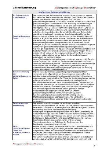 Datenschutzerklärung - Aktionsgemeinschaft Durlanger Unternehmer