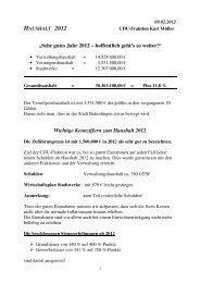 Wichtige Kennziffern zum Haushalt 2012 - CDU Bräunlingen