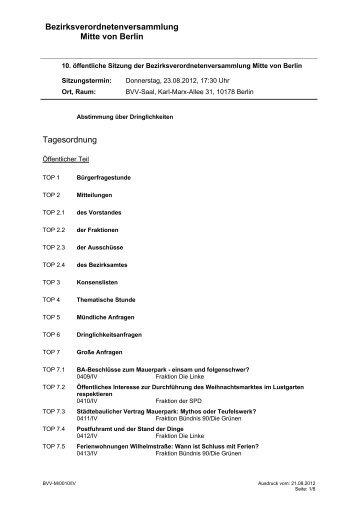 Bezirksverordnetenversammlung Mitte von Berlin Tagesordnung