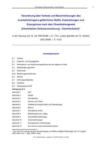 Chemikalien-Verbotsverordnung