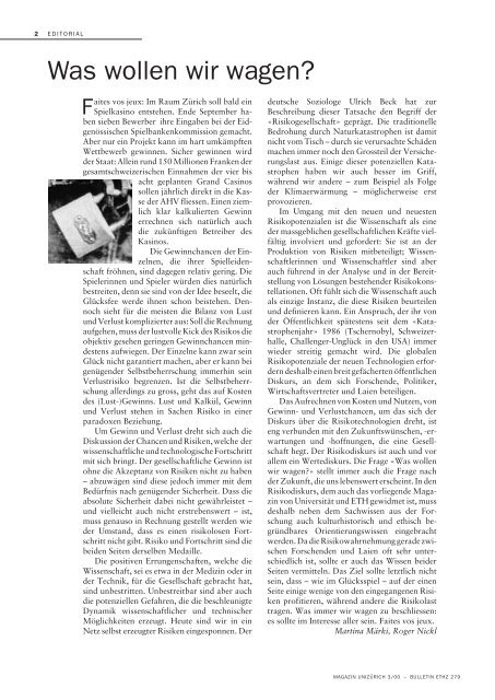 unimagazin 3/2000_Risiko und Sicherheit. Zwischen Kalkül ... - Planat