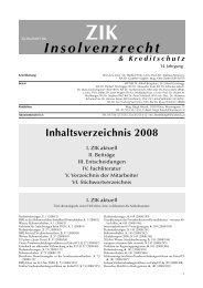 Insolvenzrecht - ZIK - LexisNexis ARD Orac